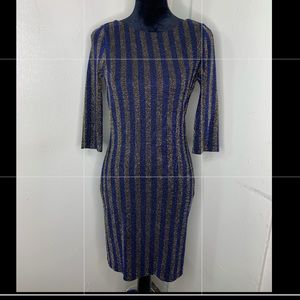 Royal blue and gold stripe party dress.